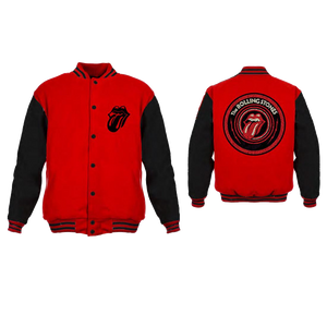 Rolling Stones Tongue Logo - Mens Red/Black Varsity Jacket