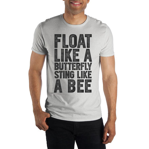Image of Muhammad Ali Float Like A Butterfly Sting Like A Bee Men's Black T-Shirt Tee Shirt- Front