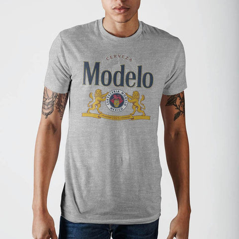 Image of Modelo Lion Grey Heather T-Shirt- Front
