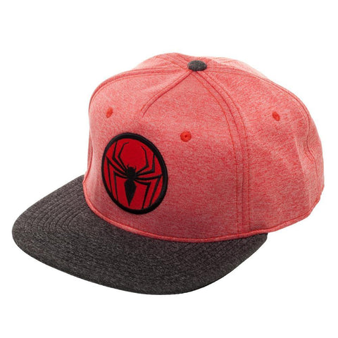 Image of Spiderman Two Tone Cationic Red and Black Snapback - left
