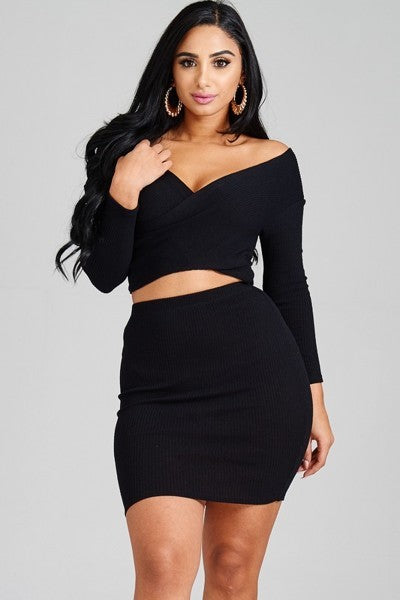Off Shoulder Crop + Skirt Set