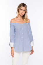 Off the Shoulder Striped Button Down