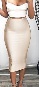 Satin Pencil Skirt with Zippered Back