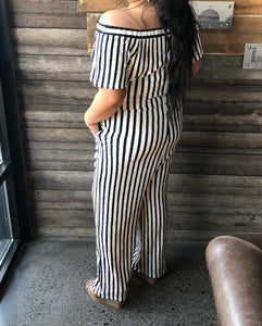 Plus Striped Jumpsuit
