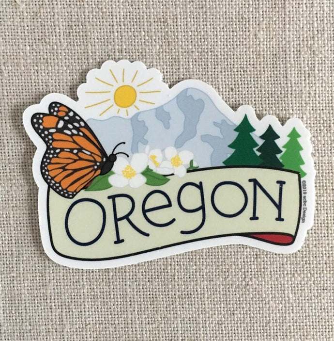 Oregon Butterfly Vinyl Sticker