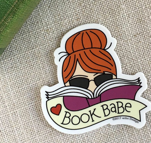 Book Babe Red Hair Vinyl Sticker
