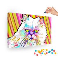Broderie Diamant Chat Abstrait Multicolore