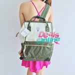 White and Khaki Anello Polyester Canvas Backpack Rucksack Regular Size