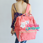 Coral Pink Anello Polyester Canvas Backpack Rucksack Regular Size