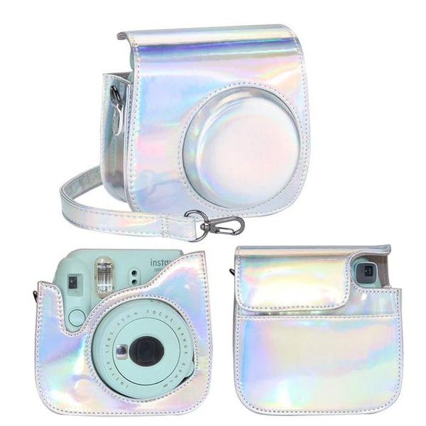 Silver Holographic Instax Mini 8/9 Leather Case/Bag
