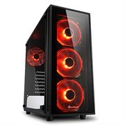 "Sharkoon TG4 RED ATX Tower PC Gaming Case Black - USB 3.0, Mounting possibilities: 2 x 3.5"", 4 x 2.5"", TOP I/O: 2x USB 3.0 (internal 19-pin mainboard connector incl. USB 2.0 plug), Front Audio - NO PSU, Retail Box , 1 Year warranty"
