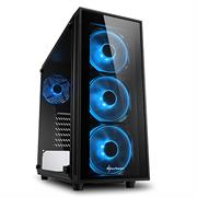 "Sharkoon TG4 BLUE ATX Tower PC Gaming Case Black - USB 3.0, Mounting possibilities: 2 x 3.5"", 4 x 2.5"", TOP I/O: 2x USB 3.0 (internal 19-pin mainboard connector incl. USB 2.0 plug), Front Audio - NO PSU, Retail Box , 1 Year warranty"