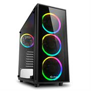 "Sharkoon TG4 RGB ATX Tower PC Gaming Case Black - USB 3.0, Mounting possibilities: 2 x 3.5"", 4 x 2.5"", TOP I/O: 2x USB 3.0 (internal 19-pin mainboard connector incl. USB 2.0 plug), Front Audio - NO PSU, Retail Box , 1 Year warranty"