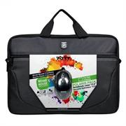 "Port Polairs 15"" (not 15.6"") Polaris II Bundle Laptop Bag and mouse - Top Loader Bag and USB Mouse - Black, Retail Packaging, 1 year Limited Warranty"