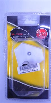Aerial King Splitter Plug In 2-Way F-M-M Blister, Retail Box, No Warranty