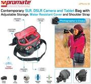 Promate Xplore-S Contemporary DSLR Camera Bag with adjustable storage, water resistant cover and shoulder strap , Retail Box, 1 Year Warranty