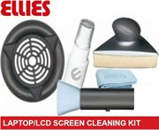 Ellies Professional Laptop and LCD Screen Cleaning Kit –Includes Triangular design Flat screen cleaner , Soft Ultra-Fine Microfiber cloth , Antistatic brush , Cleaning fluid Solution Spray , Retail Box, No warranty