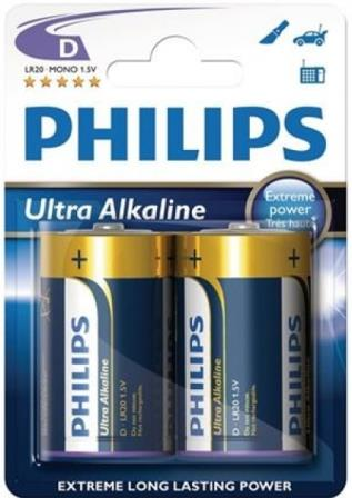 Philips Ultra Alkaline Battery LR20E2B 2 x Type D