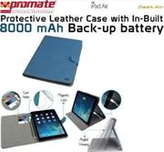 Promate Dash-Air Protective Leather Case with In-Built 8000 mAh Back-up battery-Blue, Retail Box, 1 Year Warranty