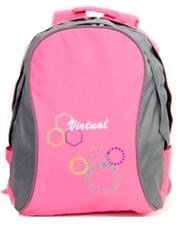 Macaroni Ateneo Universal Student Backpack- Lightweight ,Padded shoulder straps and Back, Dual Main zippered compartments,Top Grip Handle, Waterproof Material–Two Ton Pink and Grey, Retail Box, 1 year Limited Warranty