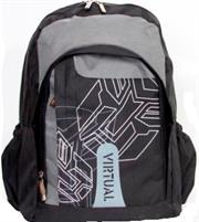 Macaroni Scolaro Universal Student Backpack-Lightweight ,Padded Back and shoulder straps ,Triple Main Plus One Side zippered compartments ,Top Grip Handle,Waterproof Material-Two Tone Black and Grey, Retail Box, 1 year Limited Warranty