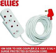 Ellies Side To Side Coupler (2 X 10A/1 X 5A) + Surge-10 metres, Sold as a Single unit, 3 Months Warranty