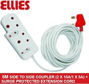 Ellies Side To Side Coupler (2 X 10A/1 X 5A) + Surge-5 metres, Sold as a Single unit, 3 Months Warranty