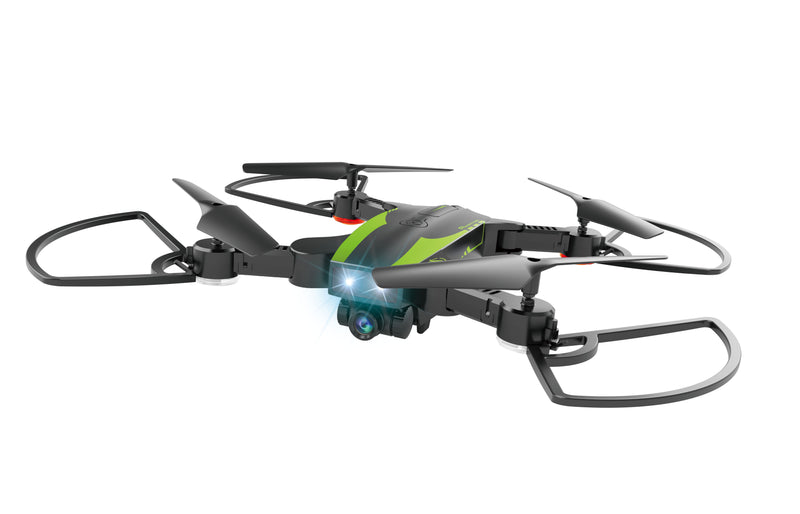 HELICUTE Aviator Folding Drone - Black and Green|720p WiFi Wide Angle Lens Camera|9-10 Minutes Flight Time|with Follow me Technology|3.7V/1100MAH Battery Capacity