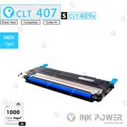 Inkpower Generic for Samsung CLT-K407S for use with Samsung CLP-320, CLP-325, CLX-3185 Series Cyan Toner Cartridge, Retail Box ,