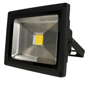 Luceco LED Floodlight - 20W - Black Body 0.5M - 1400 Lumens - 30000hrs, maintenance free, Pre-wired with 0.5m of rubber cable, Plug not provided, Halogen equivalent: 200 Watt, Instant 100% output, Retail Box, 1 year warranty