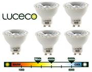 Luceco GU10 5W (LGW5W37/5-01) - Warm White LED, 5 Pack, 370 Lumens, True halogen appearance and perfect fit , 90% energy saving versus halogen , 10 times lifetime versus halogen, Will retrofit any current GU10 Halogen lamp, Retail Box , 3 year warranty