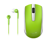 Genius MH-8100 Wireless Mouse and Wired Earphone Combo - USB Pico receiver - Green, Retail Box , 1 year Limited warranty