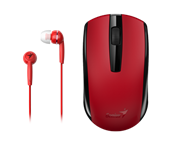 Genius MH-8100 Wireless Mouse and Wired Earphone Combo - USB Pico receiver - Red, Retail Box , 1 year Limited warranty
