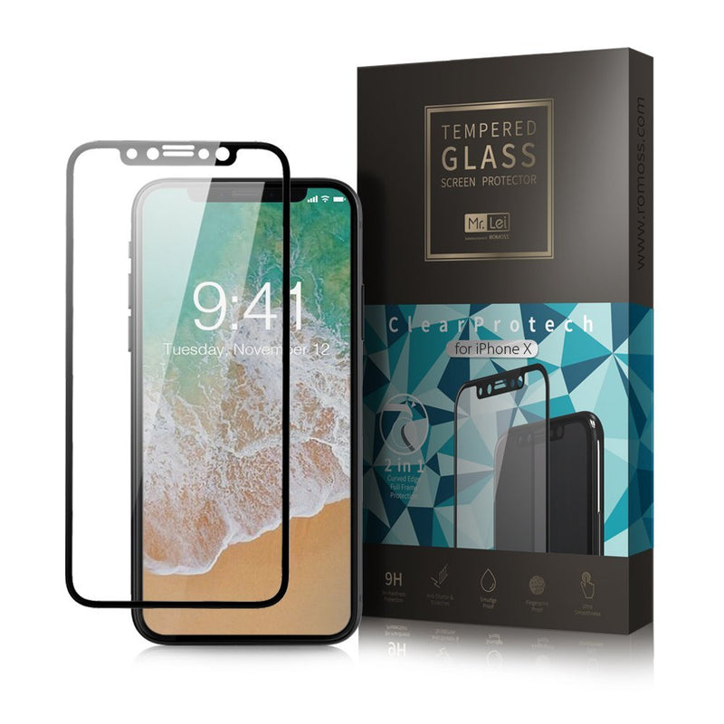 Mr. Lei 3D 0.23mm 2 in 1 Tempered Glass Full Frame Protector iPhone X Clear