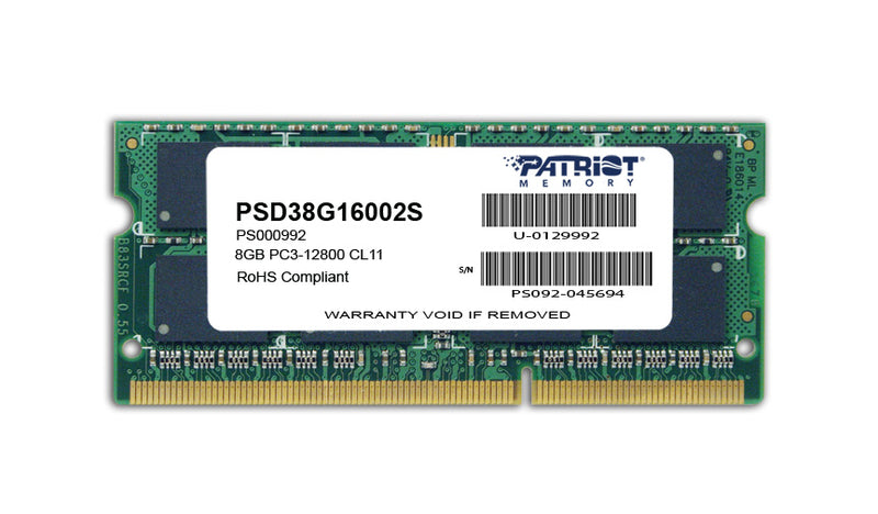 Patriot Signature Line 8GB DDR3 1600MHz SO-DIMM Dual Ran
