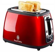 Russell Hobbs (18260SA) 2 Slice Red Glow Mirror finish Toaster - Mid cycle cancel, Re-heat function, Frozen bread, Bagel function, Variable browning control, Removable crumb tray, Retail Box, 1 year warranty