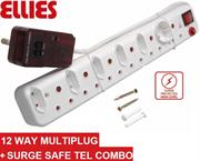 Ellies 12 Way Surge Safe Tel Combo Power Protector - 5 x 2 pin Euro slots, 1 x 2 pin Schuko socket and 6 x 3 pin sockets with Surge Safe Tel Combo unit, Sold as a Single unit, 3 Months Warranty