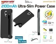 Promate Powercase S5 2100mAh Ultra-Slim Power Case For Samsung Galaxy S5 Colour: Black , Retail Box , 1 Year Warranty