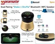 "Promate Spire Dual Pairing ""Shake n Shuffle"" Bluetooth®/NFC Speaker - Gold, Retail Box, 1 Year Warranty"
