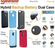 Promate Twix.i5-Hybrid Backup battery Dual case for iPhone5/5s-Blue, Retail Box, 1 Year Warranty