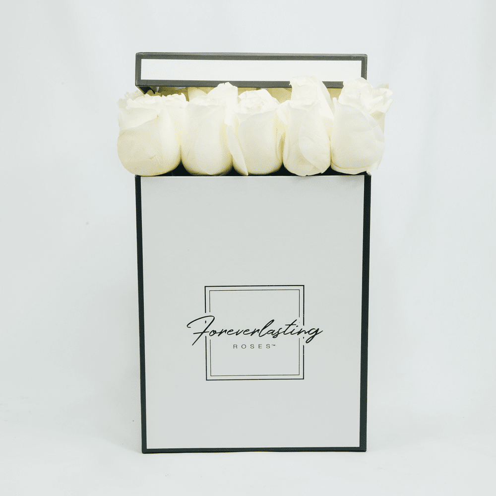 """Love Story"" Box (White) - red roses, roses that last 1 yr, roses that last a yr, roses that last one yr, roses that last a year, roses that last 1 year, roses that last one year, red roses, pink roses, white roses, luxury roses, luxury gift, luxury rose box, eternity roses, forever lasting roses"