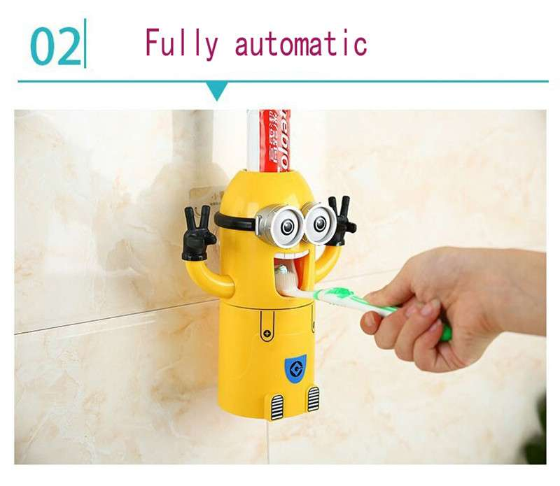 Bathroom Products Creative Automatic Toothpaste Dispenser Wall Mount Toothbrush Holder Bathroom Set for Kids Toothpaste Squeezer