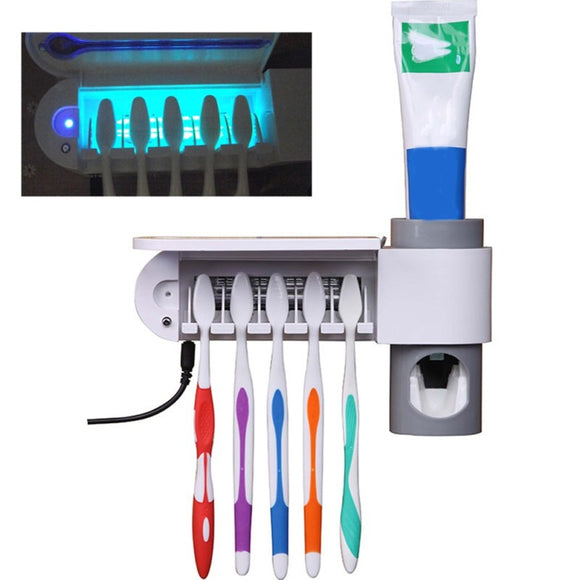 2 in 1 Antibacterial UV Light Ultraviolet Automatic Toothpaste Dispenser Sterilizer