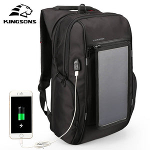 "Kingsons 15""Laptop Backpack External USB Charge Backpacks Solar battery charging Anti-theft Waterproof Bags for Men Women. Color: Black"