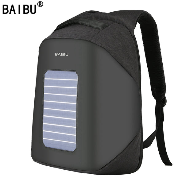 BAIBU Men Backpack 10W Solar Powered Designer Backpack Usb Charging Anti-Theft 15.6'' Laptop Backpack women Waterproof Bags