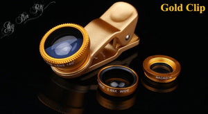 Universal 3 in 1 Clip on Macro Wide Angle Fish Eye Kit Phone Camera Lens Colors: Gold, Silver, Red, Blue, Black.