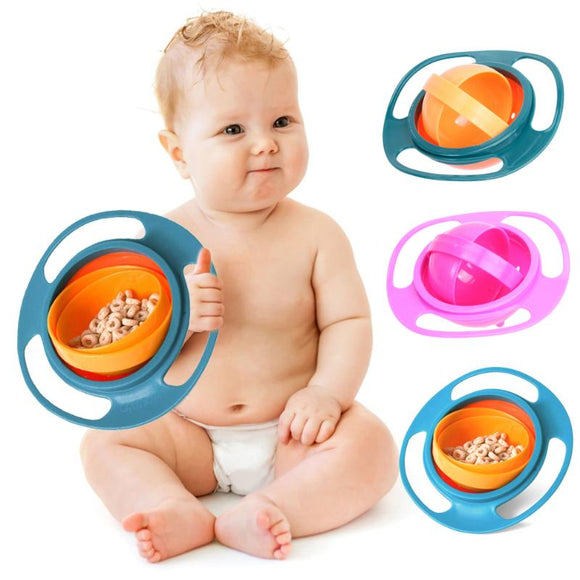 Baby Food Bowls Kids Dish Gyro Bowl 360 Rotation Anti-Overflow Dishes Universal Baby Feed Prop. Color: pink, blue, and green.