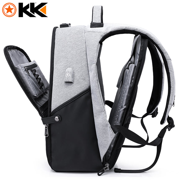 KAKA New 15.6inch Anti theft Backpack USB Charging and laptop Business pocket. Colors : Grey, Blue, and Black
