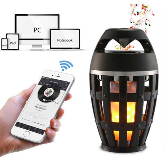 Led Flame Lights with Bluetooth Speaker Outdoor Portable Led Flame Atmosphere Lamp Stereo Speaker Sound Waterproof Dancing Flame Lighting