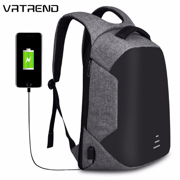 VRTREND Urban Backpacks Men USB Charge Laptop Backpack Minimalist Fashion Anti-theft Backpack Casual Mochila Waterproof Travel Bag